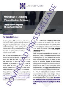 Download Official Press Release_April Software Celebrates 5th Company Birthday